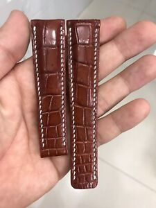 BROWN GENUINE ALLIGATOR CROCODILE LEATHER SKIN WATCH STRAP BAND 22mm