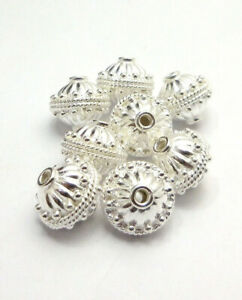 20 PCS 12X12MM SOLID COPPER BALI BEAD STERLING SILVER PLATED B 17