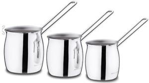 ✅ 3 PC Luxury Turkish Coffee Pot Set >KORKMAZ Stainless Steel 3 Sizes in Set ✅