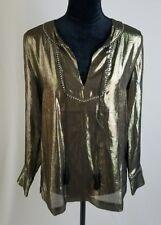 J. Crew 07031 women 4 silk metallic tunic blouse bracelet long sleeves tussles