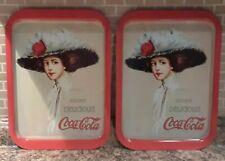 """TWO Vintage 1909 Lady COCA-COLA TRAYS """"Drink Delicious Coca-Cola"""" Hamilton King"""