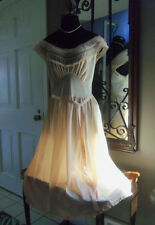 ROMANTIC Vtg Peachy Seampruf SLIP Dress Nightgown Pleated Chiffon Nylon Lace 34