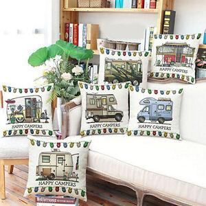 Happy Campers Cushion Cover Cotton Linen Home Sofa Waist Throw Pillow Case Decor