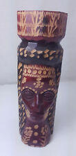 VINTAGE JAMAICA HAND CARVED TOTEM POLE SCULPTURE STATUE SIGNED IRIE