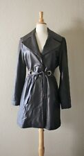 VIA SPIGA LEATHER TRENCH COAT S Dark Brown Belted Long Jacket Fall Winter Trend