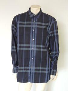 BURBERRY Men's Navy Blue Nova Plaid Long Sleeve Button Front Shirt Size L / XL