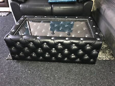 Black Leather Chesterfield Coffee Table