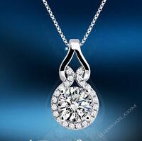Damen Halskette Collier Silber kette mit Anhänger edel Mode Schmuck Geschenk