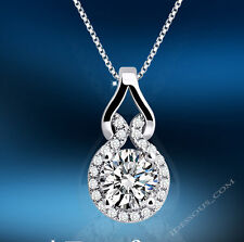 Damen Silberkette mit Anhänger Schmuck Halskette Collier Diamant Silber Luxus