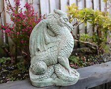 Fairytale Castello statua di drago, Pietra Decorazione Giardino, Cornovaglia Stoneware, Verde