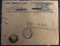 1949 Tel Aviv Israel Doar Ivri Military Post Censored Cover Advertising