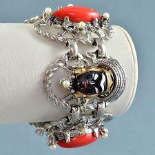 "Vintage Bracelet SELRO Wide 1950s ""Asian Princess"" Silvertone Bridal Jewellery"