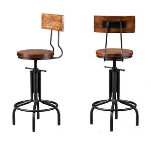 Breakfast Bar Stools Seat Industrial Retro Vintage Kitchen Dining Chair Wood