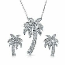 Palm Tree Necklace Pendant Earring Set Pave Cubic Zirconia CZ Sterling Silver