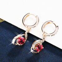 18K Rose Gold GF Made With SWAROVSKI Crystal Round Teardrop Huggie Earrings