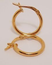 100% Genuine Vintage 9K Solid Yellow Gold Hollow Small Hoop Earrings