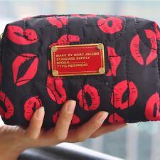 Marc by Marc Jacobs women nylon Black & Red Lips clutch handbag cosmetic bag
