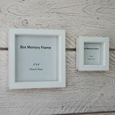 Wooden Square 3D Deep Photo Frame Glass Memory Display Box Natural White