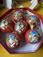 Vintage Disneyland Paris Disney Mickey Mouse Six Christmas Baubles Decorations