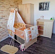Kinderzimmer Babyzimmer komplett Set Babybett 5Farben Kommode Schrank Massiv NEU
