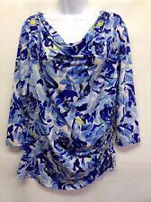 DANA BUCHMAN Women Top Tunic Blue Watercolor Drape Neck Ruched Side 3/4 Sleeve M