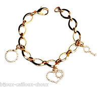 Bracelet à breloques couleur or cristal blanc coeur clé rond bijou