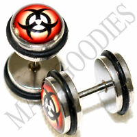 0039 Fake Cheater Faux Illusion Ear Plugs 16G Look 0G 8mm Biohazard Sign Symbol