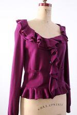 Prada wool sweater, purple ruffle cardigan, knit jacket, size 40 (small)