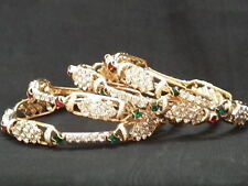 INDIAN  GOLD PLATED 4 RED & GREEN DIAMONTES BRACELET SETS