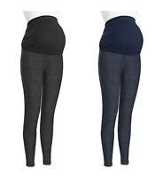 WOMENS COTTON BLUE BLACK OVER BUMP MATERNITY DENIM LOOK LEGGINGS JEGGINGS 8-20