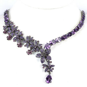 REAL PURPLE AMETHYST RHODOLITE GARNET CZ STERLING 925 SILVER FLOWER NECKLACE 17