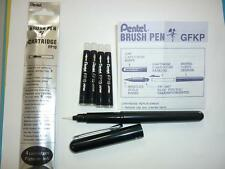 Pentel Arts Brush Pen GFKP + 4 black refills FP10 Fine to Broad lines permanent