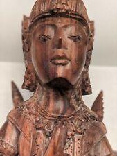 "Vintage Intricate Hand Carved Wooden Buddha Statue Goddess Meditating Pose 9"""