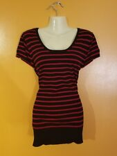 Women's Plus Size 3XL Black Red Striped Sweater Top Shirt Layer Lace Back Panel