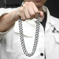 13mm 316L Stainless Steel Curb Necklace Silver Heavy Men Chain Jewelry 20-30inch