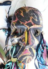 African Indian Feather Hand Painted Warrior Tribal Ceremonial Mask Leather Ties