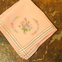 Antique Pink Rose Embroidered Flower Romantic Handkerchief Vtg
