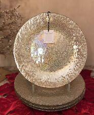 AKCAM Iridescent GOLD GLASS DINNER Plates (SET OF 4) Made in Turkey