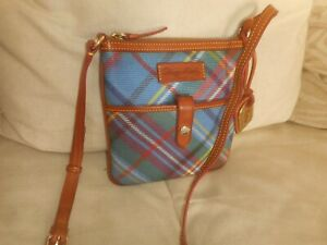 "DOONEY &  BOURKE  "" LETTER  CARRIER "" MULTI COLOR COATEd CANVAS CROSSBODY BAG"