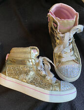 Girls Sketchers Twinkle Toes High Tops Size 1.5 Eur 33 Gold Light Up