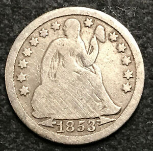 1853P SEATED LIBERTY DIME - SILVER COIN