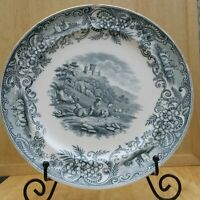RARE ANTIQUE ENGLISH GREY/BLACK TRANSFERWARE CHARGER/PLATE PASTORAL SHEEP CASTLE