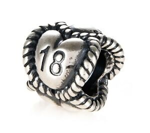 Genuine Pandora Silver 18 Heart Charm 791047