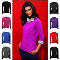 Womens Jumper Fashion V-Neck Sweater Knitwear Pullover Cotton Blend 8-18 Ladies
