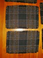 LOT 4 BLACK Woven Placmats w/ Metallic SILVER & GOLD Threads 18 x 12 w/ Fringe