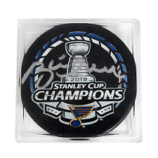 Brett Hull Autographed 2019 St. Louis Blues Stanley Cup Champions Puck Cased JSA