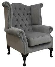 queen anne high back wing chair pimlico grey fabric