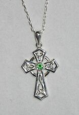 Sterling Silver Trinity Celtic Cross Pendant Necklace with Green Crystal S44874