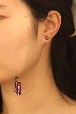 Boucles d'Oreilles Clous Perle de Culture Plate Argent 925 Noir Gris 4mm-5mm