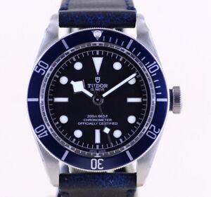 Tudor Black Uhr Bay Top Heritage Blue Cool 2020 No-Date B+P Diver Lederband Manu